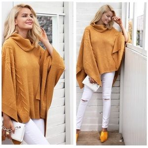 Sweaters - TURTLENECK YELLOW SWEATER KNITTED CAPE ONE SIZE 🌸